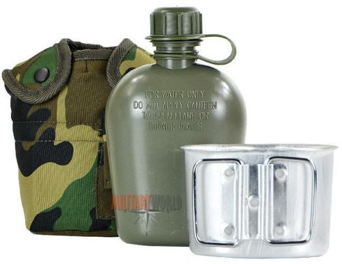 Mil-Tec US Plastic Canteen with Cup LC2 Woodland