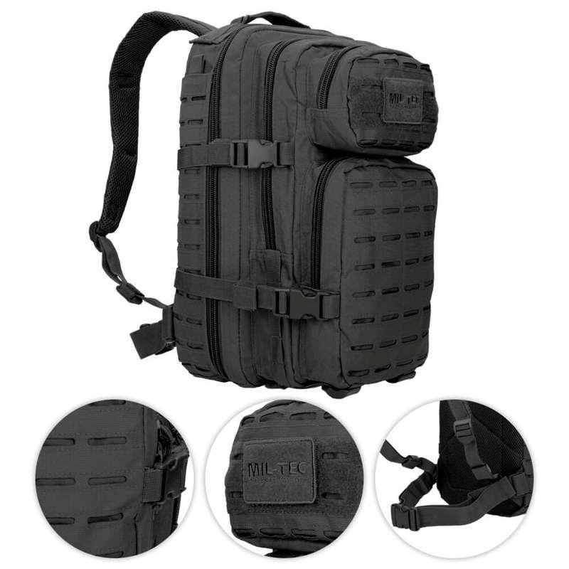 Details about Mil-Tec 20L Small LASER CUT Assault US Tactical Backpack  MOLLE Black 741841a29c