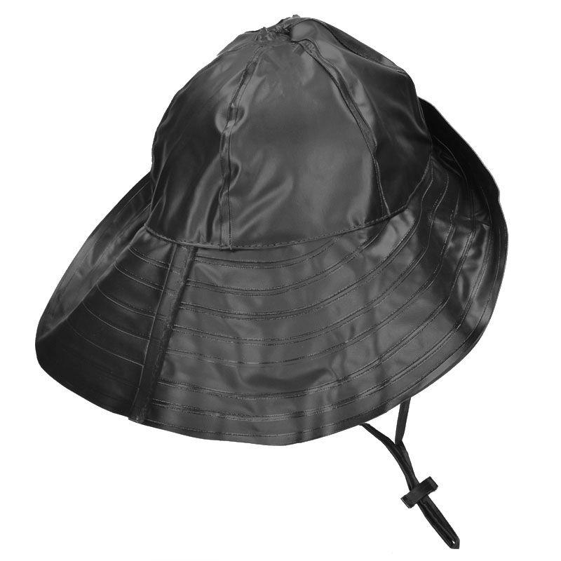 Details about Mil-Tec Mens Ladies Waterproof BUCKET RAIN HAT w  PVC Coated  Black 56cd8c39a6a