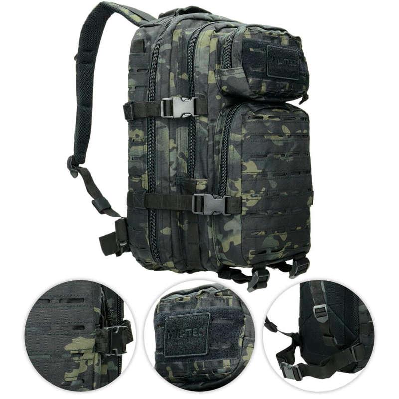 Mil-Tec 36L MOLLE Laser Cut Assault Pack US Sac à Dos Militaire Multitarn Noir