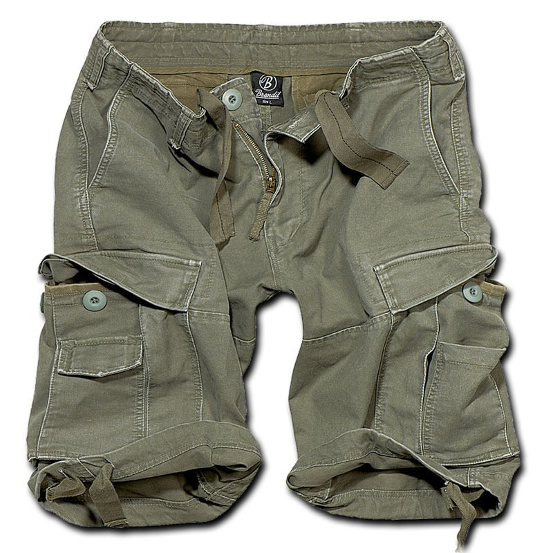 Brandit 2002.1 Vintage Classic M65 Cargo Shorts US Kurze Hose Bermuda Oliv