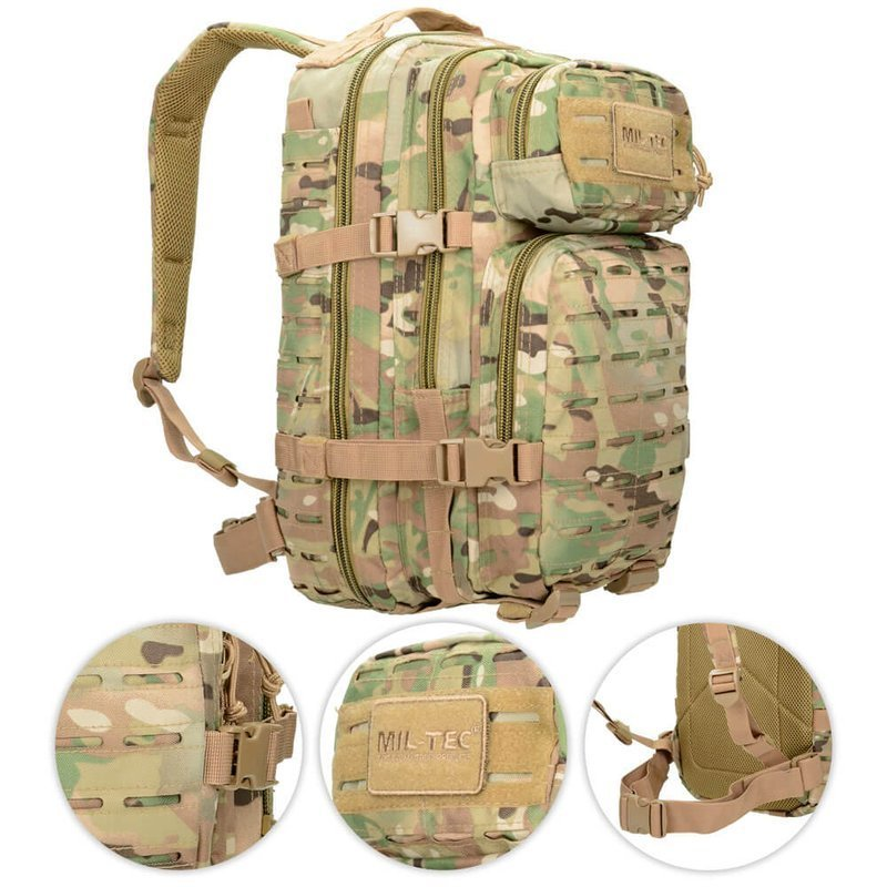 753a7543c19 Details about Mil-Tec 20L Small LASER CUT Assault US Tactical Backpack  MOLLE Multitarn Camo