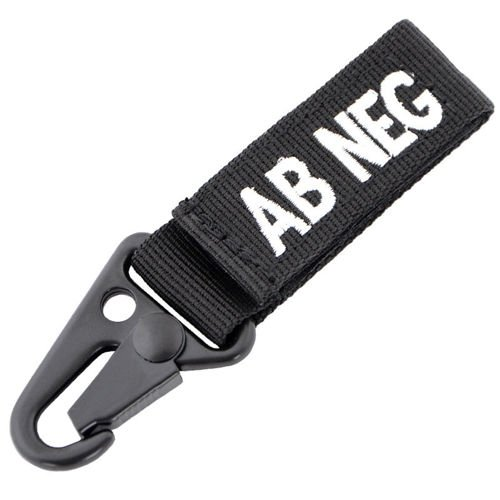 Condor Keychain Blood Type AB RH- Black