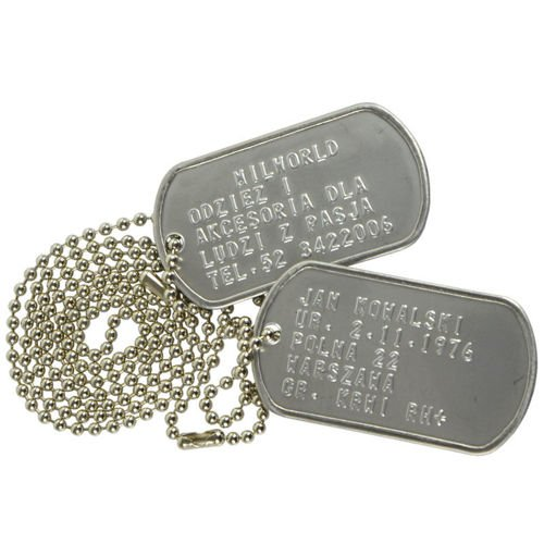 Mil-Tec Dog Tags with Your Text Silver