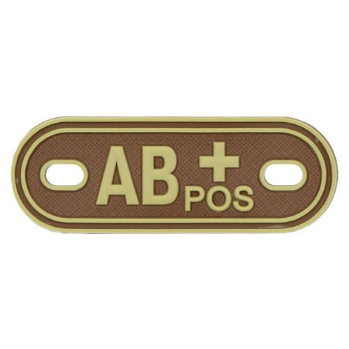MFH 3D Dog Tag Style Blood Group Marker AB POS Desert