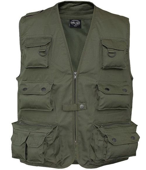 Mil-Tec Hunting and Fishing Vest with Mesh Lining Olive