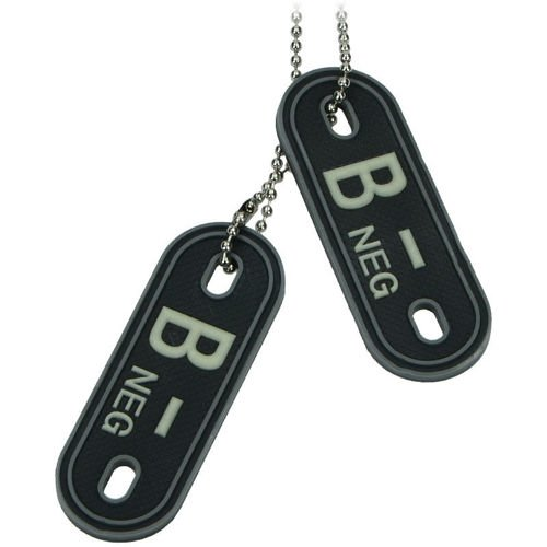 MFH 3D Dog Tag Style Blood Group Marker B NEG Black