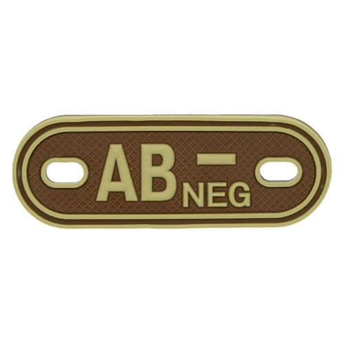 MFH 3D Dog Tag Style Blood Group Marker AB NEG Desert