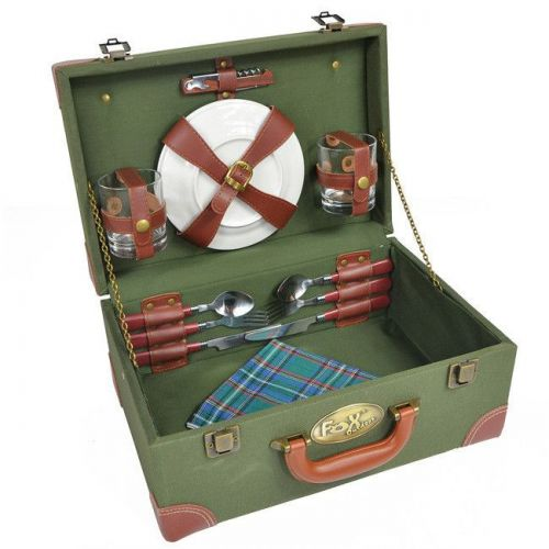 Fox Outdoor Picnic Basket with Dishware and Cutlery