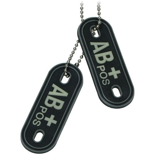 MFH 3D Dog Tag Style Blood Group Marker AB POS Black