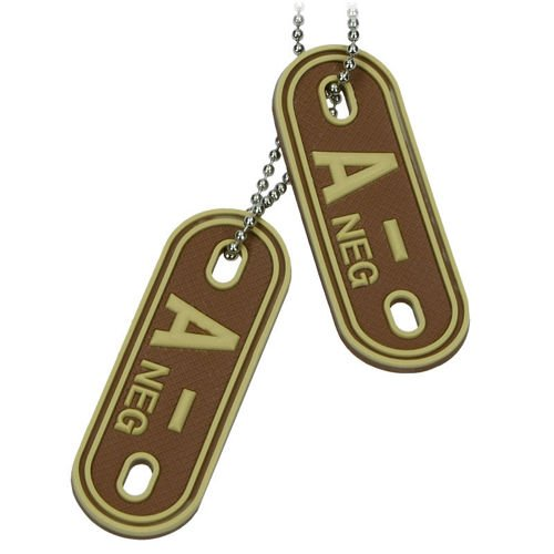 MFH Dog Tag 3D with Blood Type A- Desert