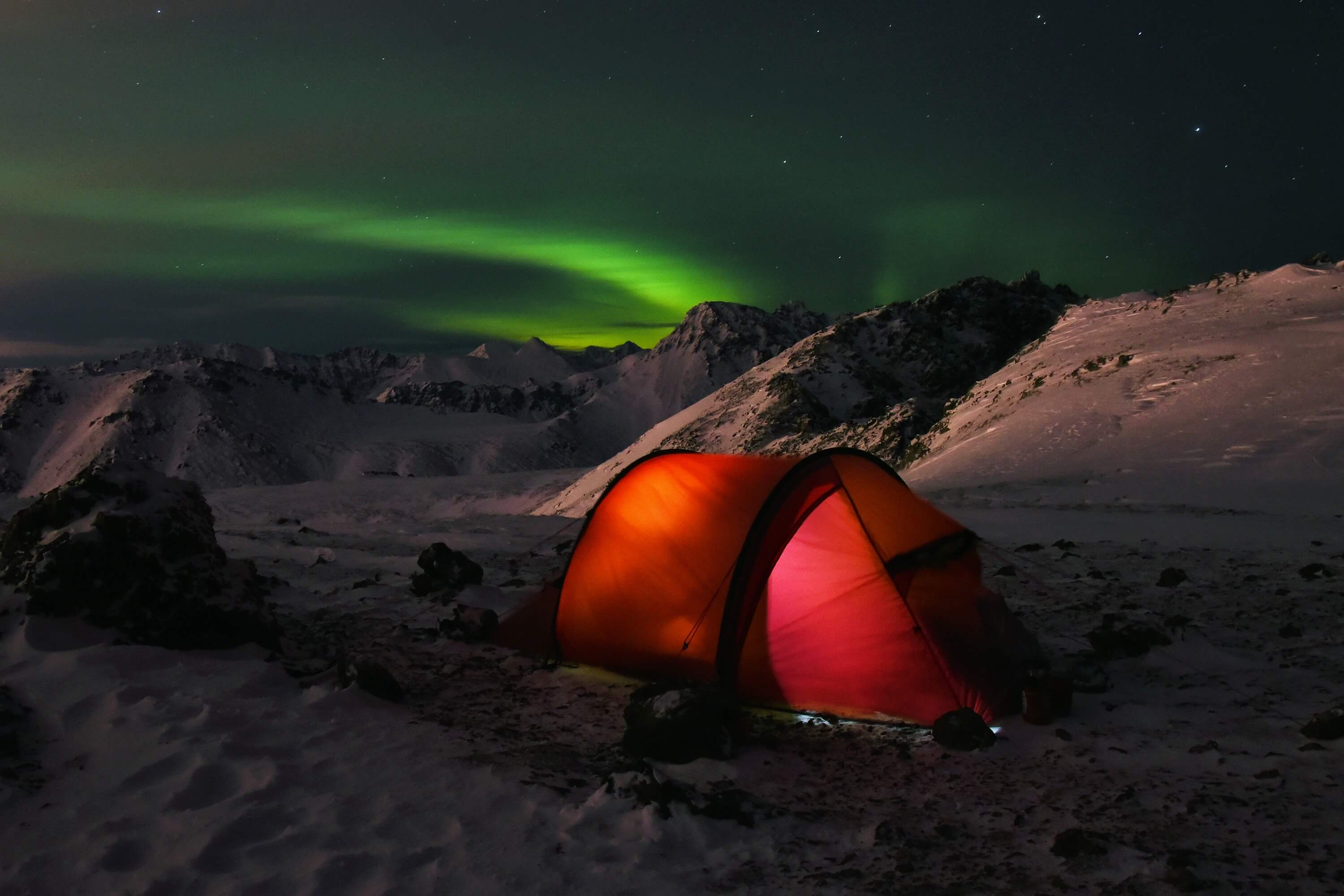 Overnight in a tent in winter can provide many unforgettable feelings