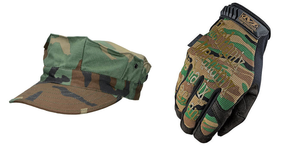 Woodland gloves and hat