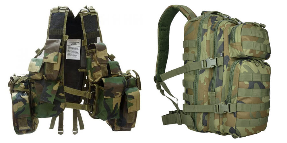 Tactical vest and backpack Woodland