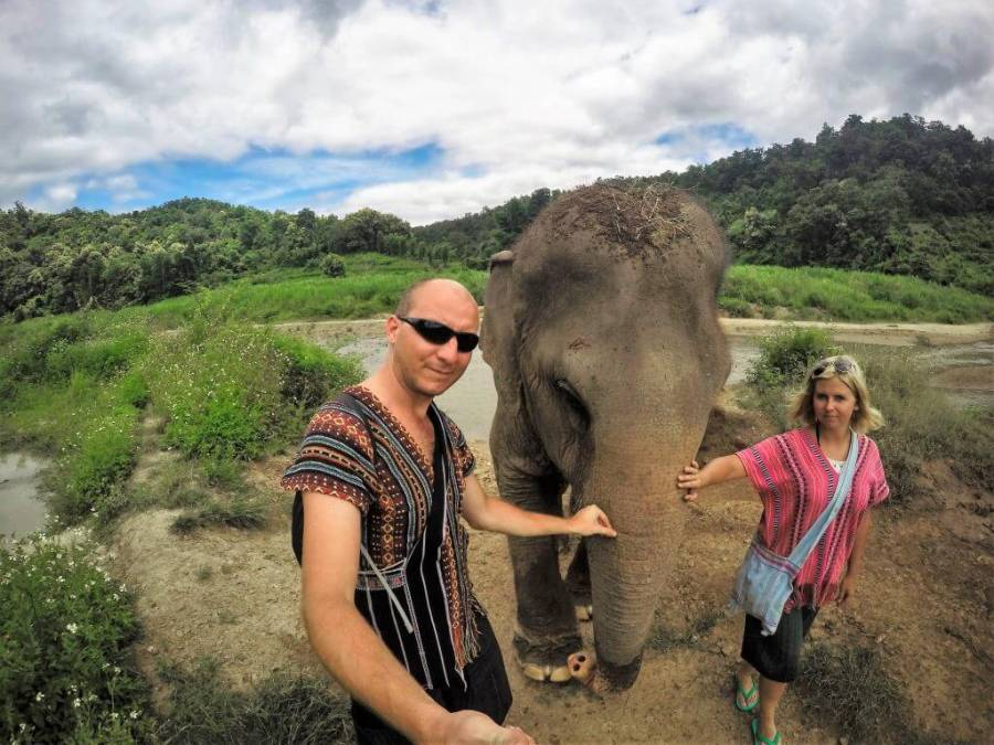 Meeting with Elephants in Chiang Mai, Thailand