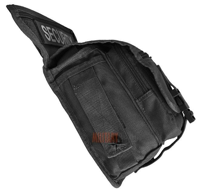 MFH Tactical Waist Belt Utility Hip Bag 6 Pockets Hiking Camping Travel Black