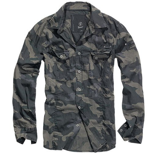 Brandit Long-sleeved Slim Fit Shirt Dark Camo