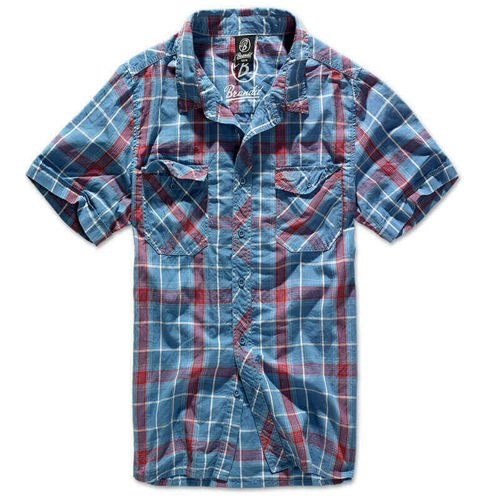 Brandit Short Sleeve Roadstar Shirt 1/2 Red and Blue
