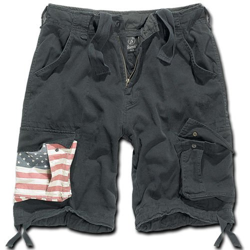 Brandit Vintage Stars and Stripes Shorts Black
