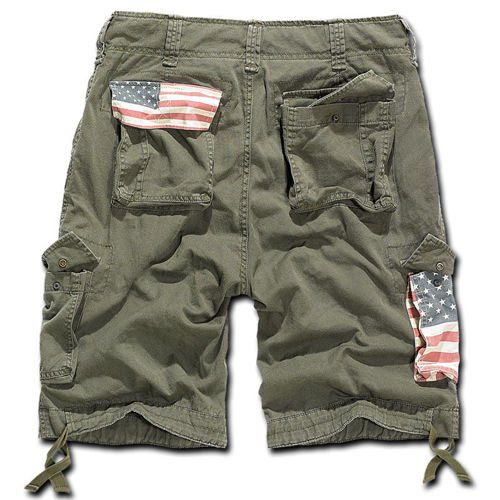 Brandit Vintage Stars and Stripes Shorts Olive Drab