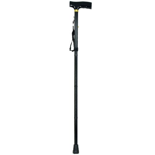 Highlander Folding Walking Stick Height Adjustable Black