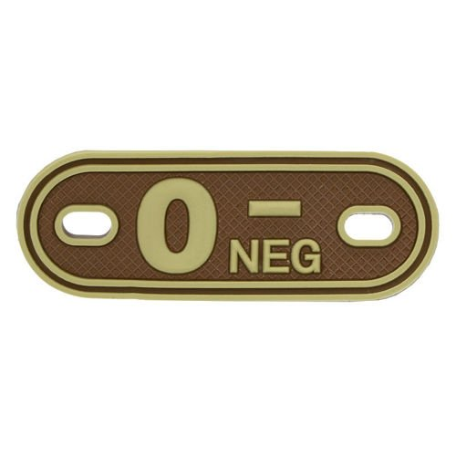MFH 3D Dog Tag Style Blood Group Marker 0 NEG Desert