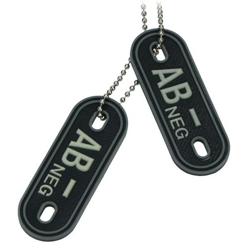 MFH 3D Dog Tag Style Blood Group Marker AB NEG Black