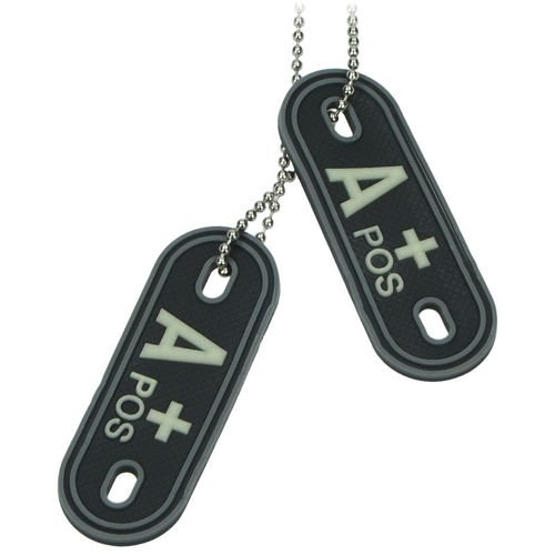 MFH Dog Tag 3D with Blood Type A+ Black