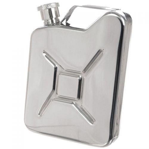 MFH 6oz (170ml) Hip Flask Jerry Can Silver