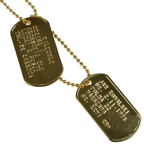 Mil-Tec Dog Tags with Your Text Golden