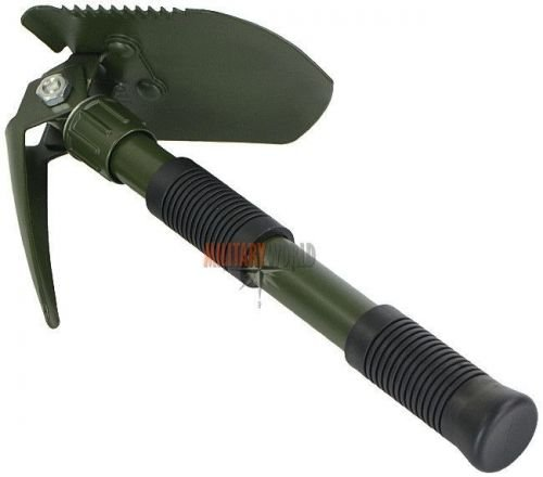 Mil-Tec Fold-up Shovel with Pickaxe and Cover Olive