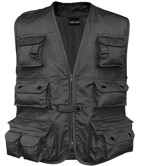 Mil-Tec Hunting and Fishing Vest with Mesh Lining Black