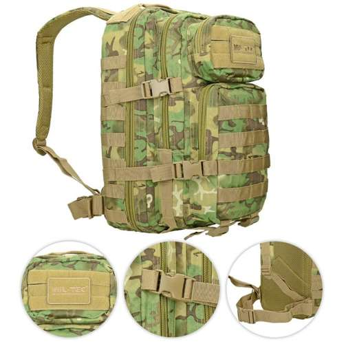 Mil-Tec MOLLE Tactical Backpack Assault Small Arid Woodland