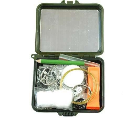 Mil-Tec Survival Kit with Equipment in a Box Olive