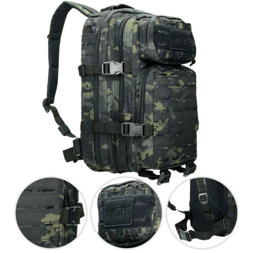 Mil-Tec Tactical Laser Cut Backpack Small Black Multitarn