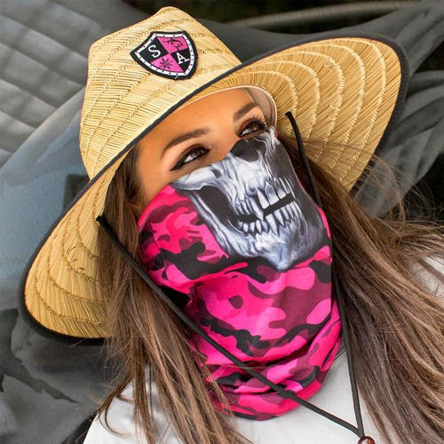 SA Co. Face Shield™ Pink Military Camo Skull