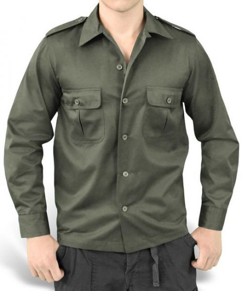 Surplus Uniform Shirt with Long Sleeve US Hemd 1/1 Olive
