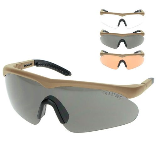 Swiss Eye Tactical Raptor Glasses + 3 Glass Colors Coyote