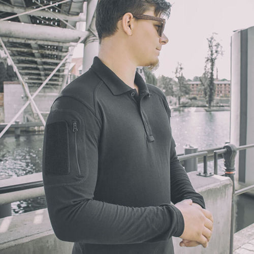 Texar Polo Shirt with Long Sleeve Elite Pro Black